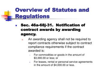 Overview of Statutes and Regulations