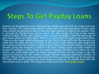 Steps To Get Payday Loans