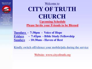 Welcome to CITY OF TRUTH CHURCH