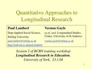 Quantitative Approaches to Longitudinal Research