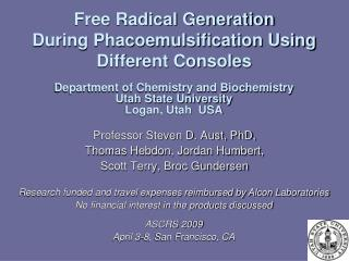 Free Radical Generation  During Phacoemulsification Using Different Consoles