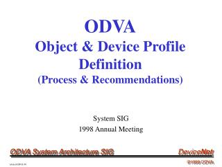 ODVA Object & Device Profile Definition  (Process & Recommendations)