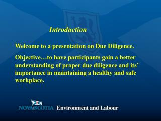 Welcome to a presentation on Due Diligence.