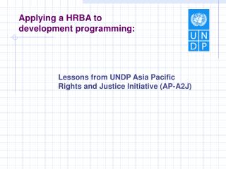 Applying a HRBA to development programming :