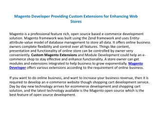 Magento Developer Providing Custom Extensions