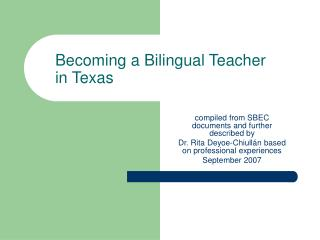 Becoming a Bilingual Teacher in Texas