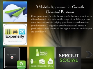 5 Mobile Apps must for Growth Oriented Business
