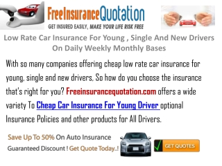 Low Rate Car Insurance For Young , Single And New Drivers