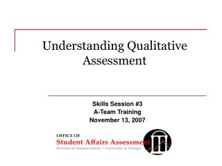 Understanding Qualitative Assessment