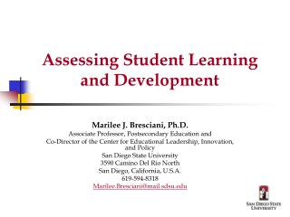 Assessing Student Learning and Development