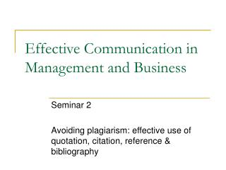 Effective Communication in Management and Business