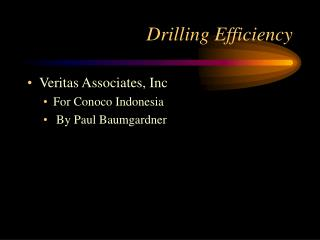 Drilling Efficiency