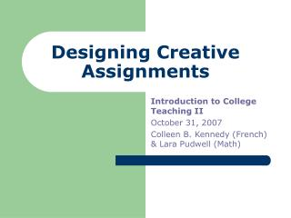 Designing Creative Assignments