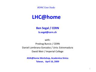 BOINC Case Study: LHC@home