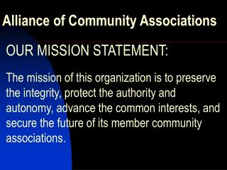 Alliance of Community Associations