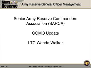 Army Reserve General Officer Management