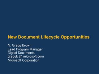 New Document Lifecycle Opportunities