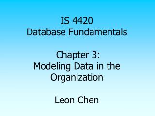 IS 4420 Database Fundamentals  Chapter 3: Modeling Data in the Organization  Leon Chen