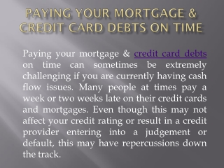 Paying your Mortgage & Credit Card Debts on Time | Refinance