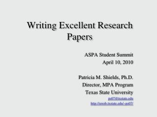 Writing Excellent Research Papers