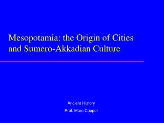 Mesopotamia: the Origin of Cities and Sumero-Akkadian Culture