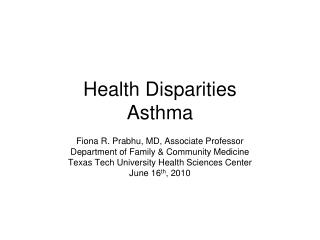 Health Disparities Asthma
