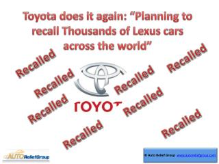 Toyota does it again: ???Planning to recall thousands of Lexus
