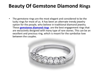 Beauty Of Gemstone Diamond Rings