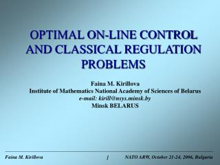 ???IMAL ON-LINE CONTROL AND CLASSICAL REGULATION PROBLEMS