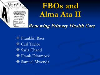 FBOs and  Alma Ata II Renewing Primary Health Care