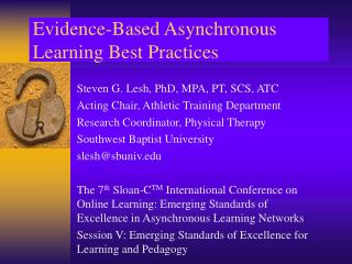 Evidence-Based Asynchronous Learning Best Practices