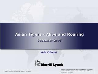 Asian Tigers - Alive and Roaring December 2003