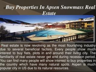 Buy Properties In Apsen