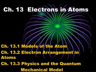 Ch. 13 Electrons in Atoms