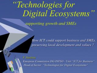 """Technologies for Digital Ecosystems"" supporting growth and SMEs"