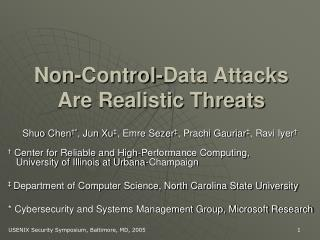 Non-Control-Data Attacks Are Realistic Threats