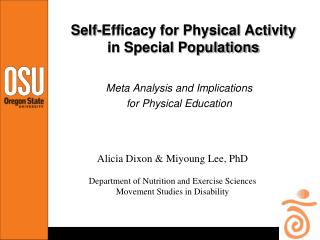 Self-Efficacy for Physical Activity in Special Populations