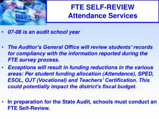 FTE SELF-REVIEW Attendance Services