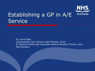 Establishing a GP in A/E Service