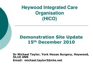 Heywood Integrated Care Organisation (HICO)