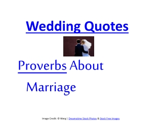 Wedding proverbs