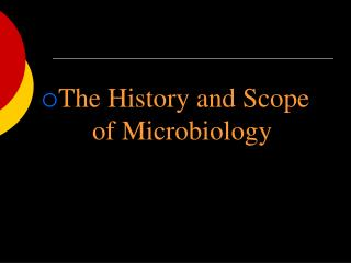 The History and Scope of Microbiology