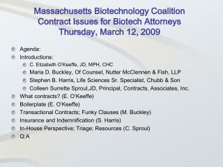 Massachusetts Biotechnology Coalition Contract Issues for Biotech ...