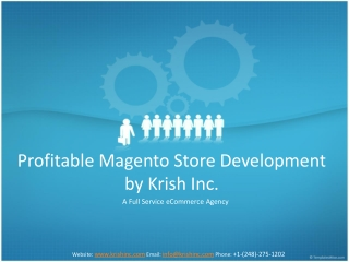 Profitable Magento Store Development by Krish Inc.