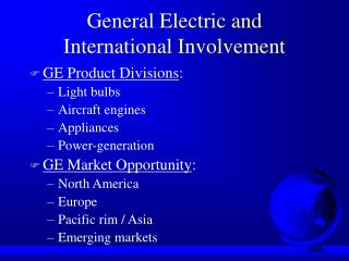 General Electric and  International Involvement