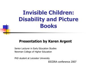 Invisible Children: Disability and Picture Books