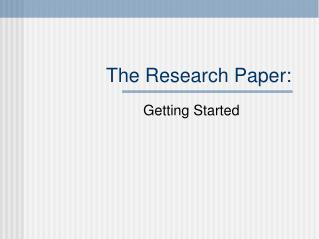 The Research Paper: