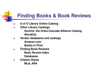 Finding Books & Book Reviews