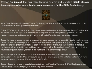 Tycoon Equipment, Inc. now manufactures custom