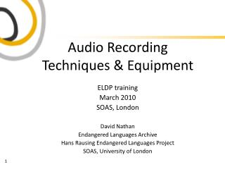 Audio Recording  Techniques & Equipment